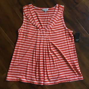 NWT Crown & Ivy Orange and White Stripes p Small